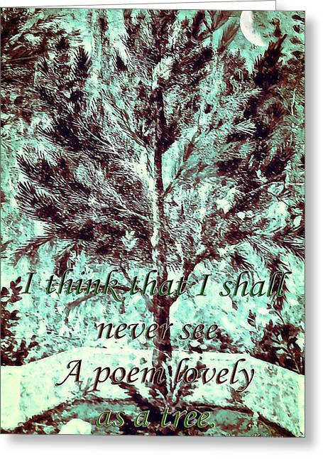 Susan Leggett Digital Greeting Cards - Tree and Poem Greeting Card by Susan Leggett