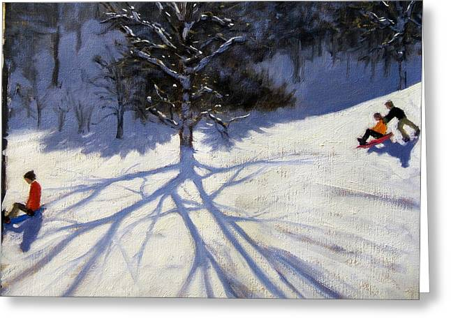 Toboggan Greeting Cards - Tree and two tobogganers Greeting Card by Andrew Macara