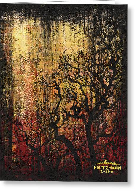 Grungy Paintings Greeting Cards - Tree Greeting Card by Arleana Holtzmann