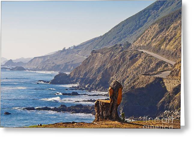 Pch Greeting Cards - Tree Carved Chair Overlooking Beach Greeting Card by David Buffington