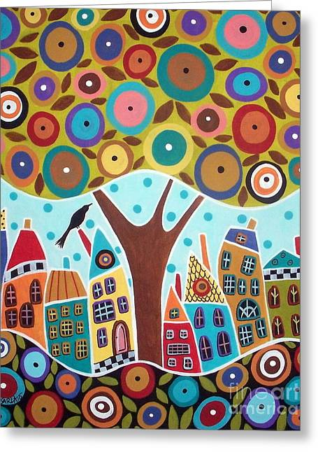 Folk Art Landscapes Greeting Cards - Tree Eight Houses And A Bird Greeting Card by Karla Gerard