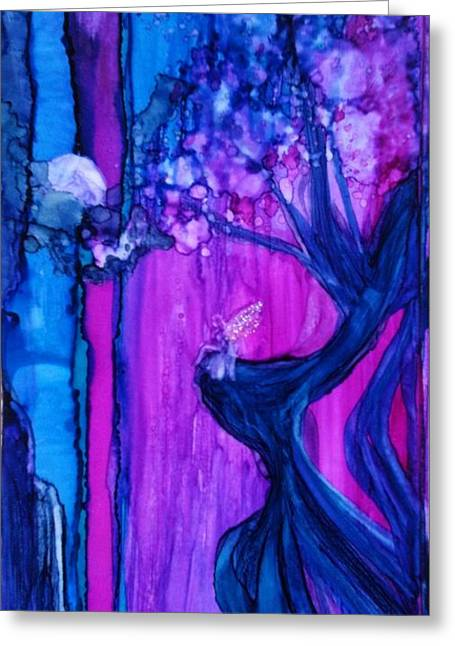 Fairy Hearts Pink Flower Greeting Cards - Tree Fairy Greeting Card by Joyce Auteri