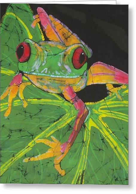 Fine Art Tapestries - Textiles Greeting Cards - Tree Frog  Greeting Card by Kay Shaffer