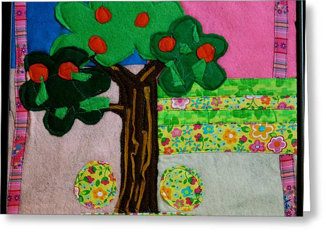 Artwork Tapestries - Textiles Greeting Cards - Tree Greeting Card by Ghazel Rashid