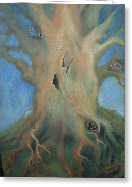 Tree Roots Paintings Greeting Cards - Tree House Greeting Card by Holly Stone