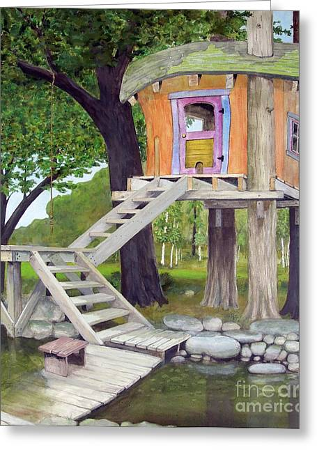 Recently Sold -  - Fantasy Tree Greeting Cards - Tree House Pond Greeting Card by Will Lewis