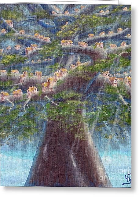 Tree Houses From Arboregal Greeting Card by Dumitru Sandru