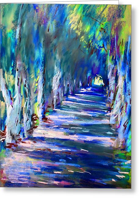 Shade Pastels Greeting Cards - Tree Lined Road Greeting Card by Ylli Haruni