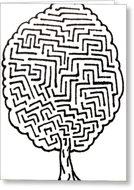 Counterculture Greeting Cards - Tree Maze Greeting Card by Andrew Padula