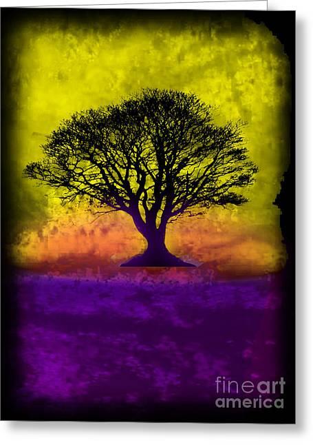 Splashy Art Greeting Cards - Tree of Life - Yellow Sunburst Sky Greeting Card by Robert R Splashy Art