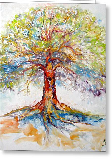 Tree Roots Greeting Cards - TREE of LIFE HOPE Greeting Card by Marcia Baldwin