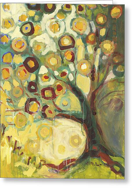 Modern Abstract Paintings Greeting Cards - Tree of Life in Autumn Greeting Card by Jennifer Lommers