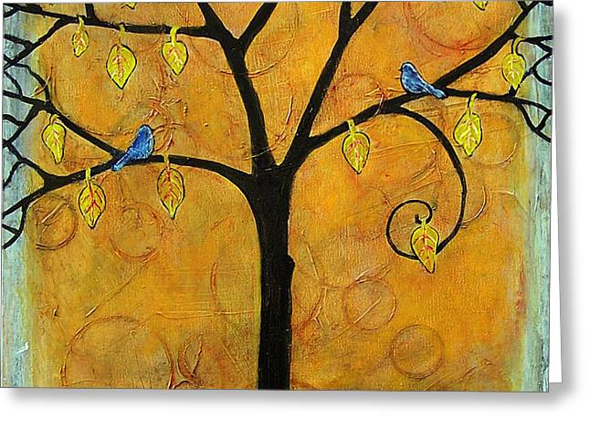 Bluebirds Greeting Cards - Tree of Life in Yellow Greeting Card by Blenda Studio