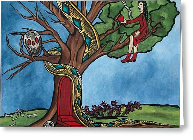 Tree of life temptation and death Greeting Card by Deidre Firestone
