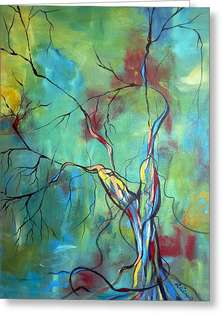 Tree Roots Greeting Cards - Tree Of Winding Color Greeting Card by Ruth Palmer