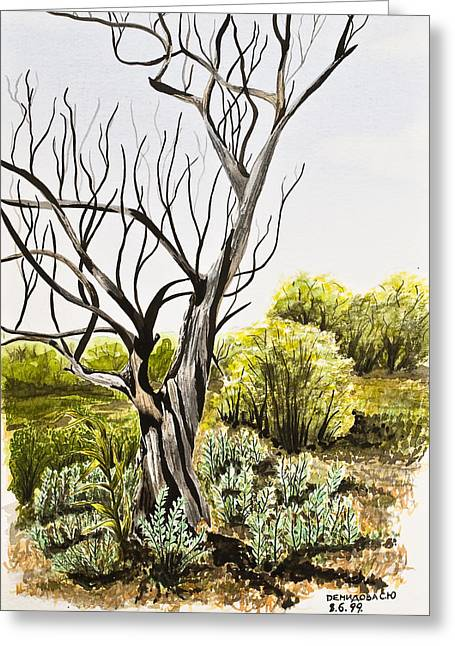 Bare Trees Drawings Greeting Cards - Tree Painting Greeting Card by Svetlana Sewell
