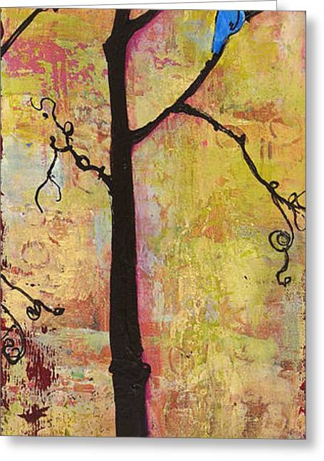 Warm Tones Greeting Cards - Tree Print Triptych Section 2 Greeting Card by Blenda Studio