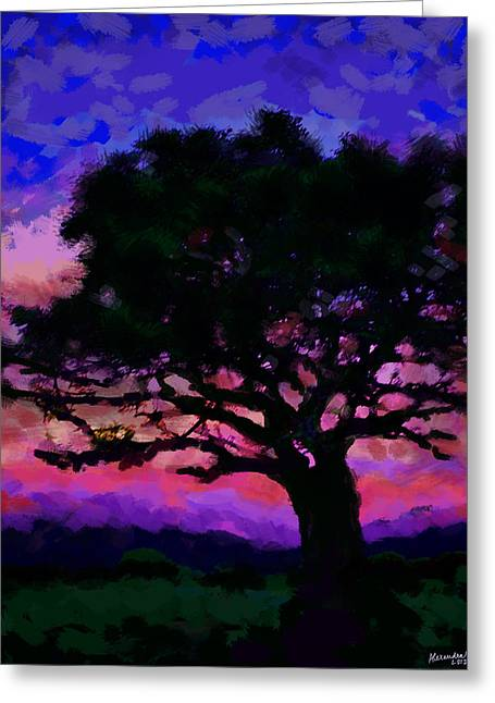African Inspired Art Greeting Cards - Tree Siluette at Sunset  Greeting Card by Alexandra Jordankova