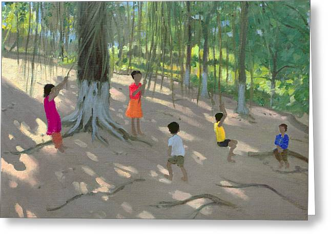 Dappled Light Greeting Cards - Tree Swing Greeting Card by Andrew Macara