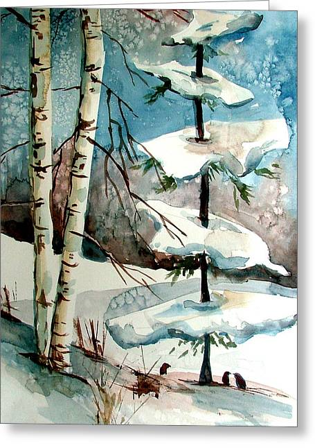 Winters Drawings Greeting Cards - Tree Talkers Greeting Card by Mindy Newman