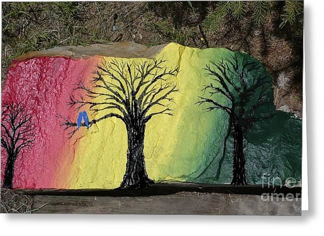 Tree with Lovebirds Greeting Card by Monika Dickson-Shepherdson