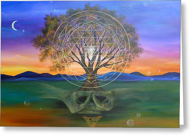 Spiritual Paintings Greeting Cards - Tree Yantra Greeting Card by Sundara Fawn