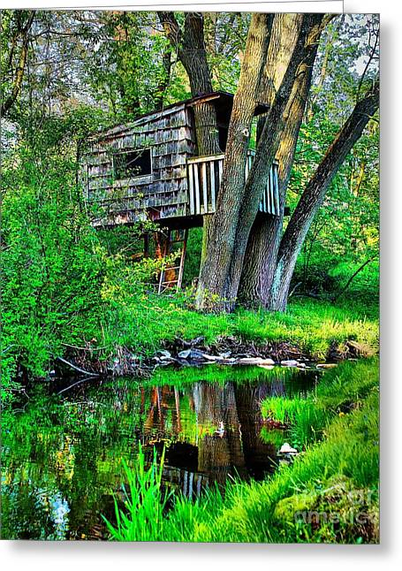 Treehouse Greeting Cards - Treehouse by the water Greeting Card by Nick Zelinsky