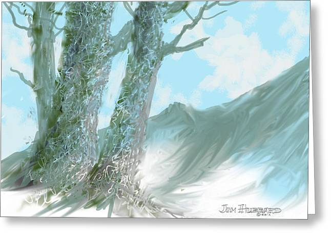 Photoshop Drawings Greeting Cards - Trees-2colors Greeting Card by Jim Hubbard