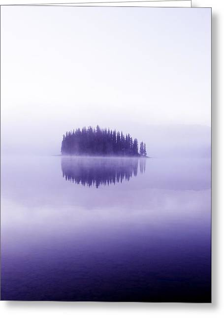 Pond In Park Greeting Cards - Trees Across A Calm Lake Greeting Card by Chris Knorr