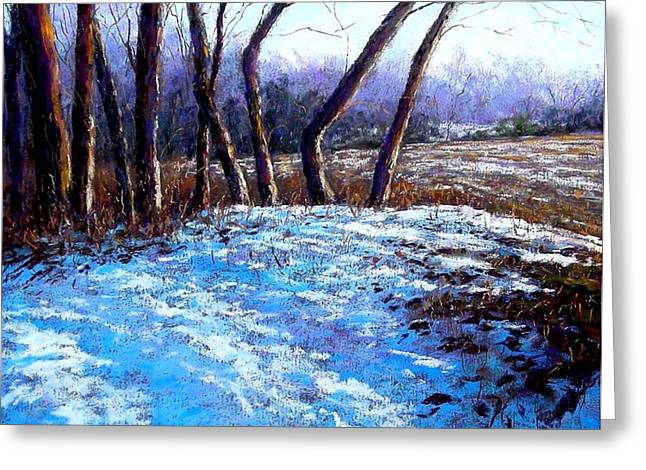 Winter Park Pastels Greeting Cards - Trees and Fields in Winter Greeting Card by Bob Richey