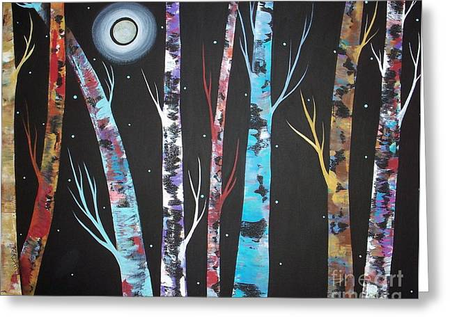 Tree Art Greeting Cards - Trees and Moon Greeting Card by Karla Gerard