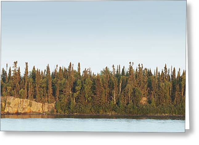 Superior Sunrise Greeting Cards - Trees Covering An Island On Lake Greeting Card by Susan Dykstra