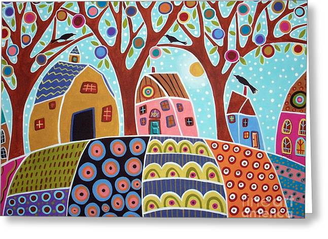 Folk Art Landscapes Greeting Cards - Trees Houses Barn And Birds Greeting Card by Karla Gerard