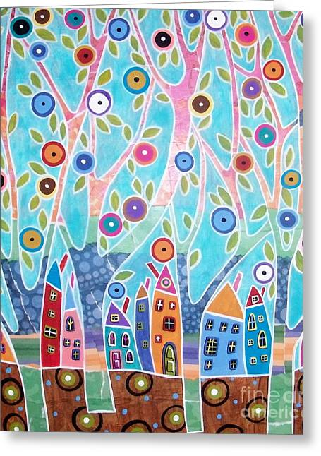 Landscape Mixed Media Greeting Cards - Trees Houses Landscape Greeting Card by Karla Gerard
