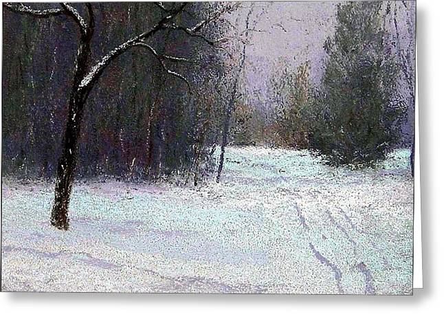 Trees In A Winter Fog Greeting Card by Bob Richey