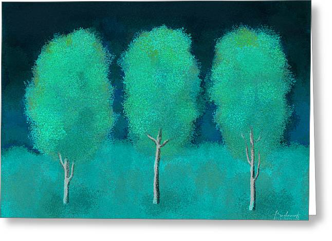 Robin Lewis Greeting Cards - Trees in Triplicate Moonlit Winter Greeting Card by Robin Lewis
