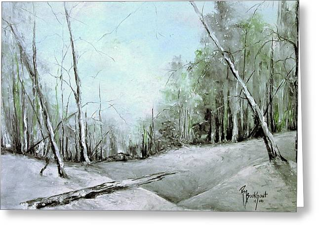 Snow Drifts Pastels Greeting Cards - Trees in Winter #2 Greeting Card by Robin Miller-Bookhout