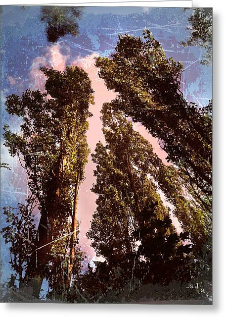 Height Mixed Media Greeting Cards - Trees Greeting Card by Jan Steadman-Jackson