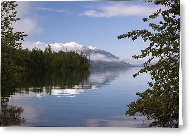 Montana Landscapes Photographs Greeting Cards - Trees Mountain Lake Greeting Card by Amanda Kiplinger
