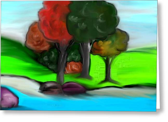 Trees On River Greeting Card by Paula Brown
