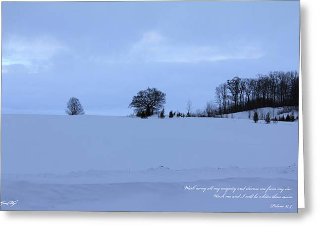 Psalm 51:2 Greeting Cards - Trees snow field Greeting Card by Kevin Doty