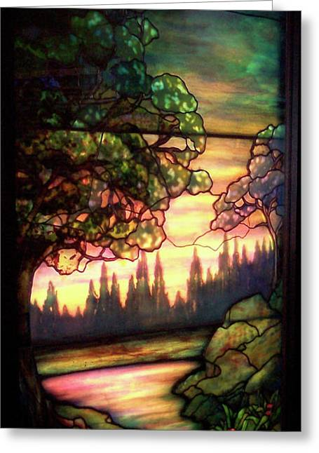 Colorful Photos Glass Art Greeting Cards - Trees Stained Glass Window Greeting Card by Thomas Woolworth