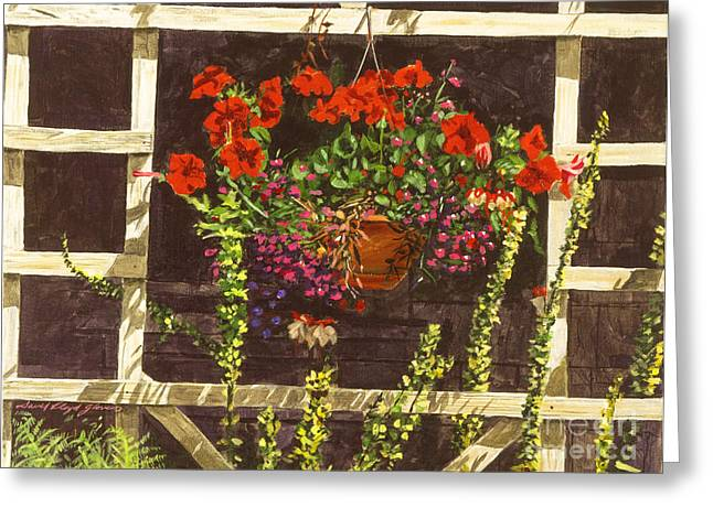 Trellis Paintings Greeting Cards - Trellis Flower Pot Greeting Card by David Lloyd Glover