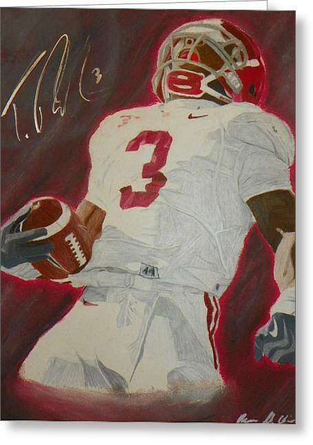 Crimson Drawings Greeting Cards - Trent Richardson Alabama Crimson Tide Greeting Card by Ryne St Clair