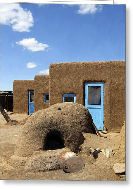 Taos Greeting Cards - Tres Casitas Taos Pueblo Greeting Card by Kurt Van Wagner