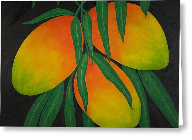 Mango Paintings Greeting Cards - Tres Mangos Greeting Card by Maureen Schmidt