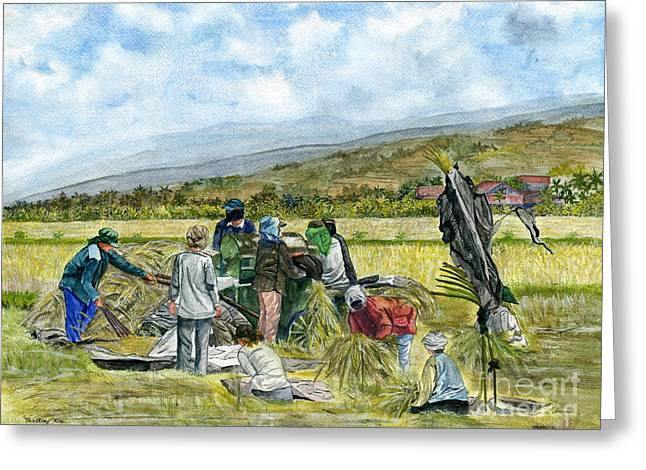 Harvest Art Greeting Cards - Treshing Rice Greeting Card by Melly Terpening