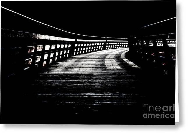 Wooden Greeting Cards - TRESTLE CORRIDOR kinsol trestle railroad trail into darkness black and white Greeting Card by Andy Smy