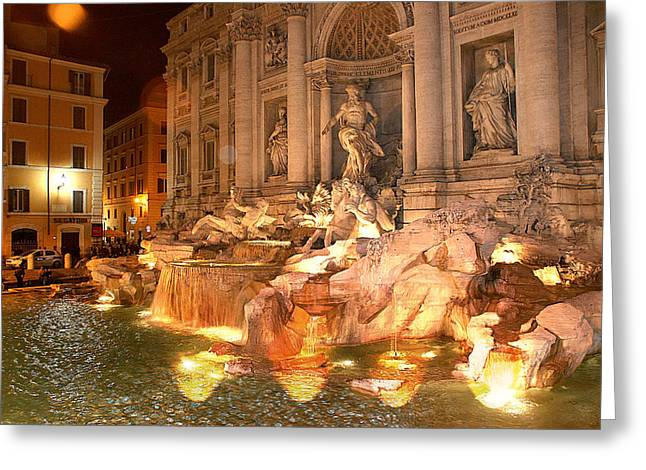 Rome Greeting Cards - Trevi Fountain at Night Greeting Card by Jim Kuhlmann