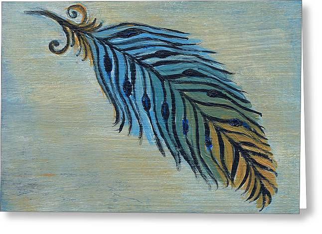 Tri-color Feather Greeting Card by Kristen Fagan